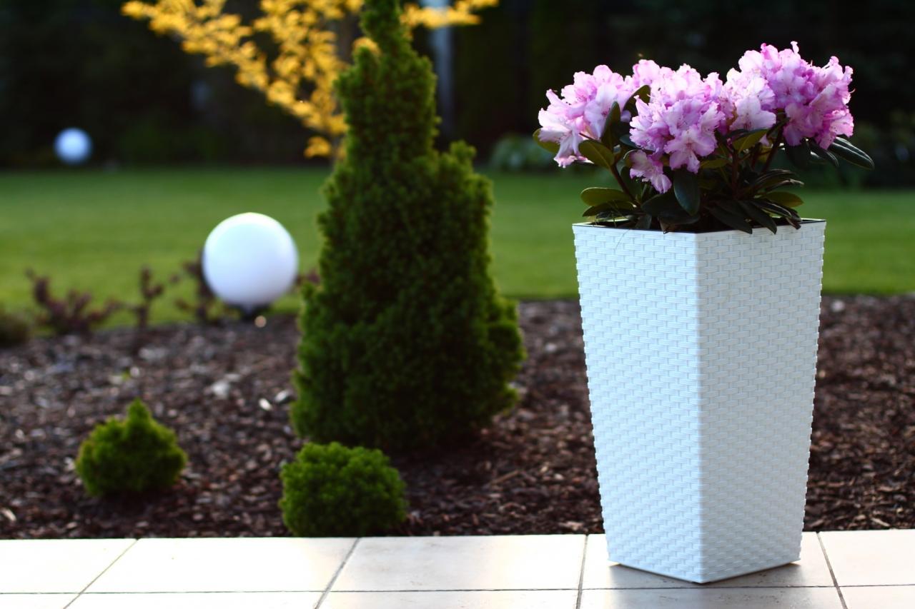 Plastový květináč Finezia ratan 400x400 mm, bílý
