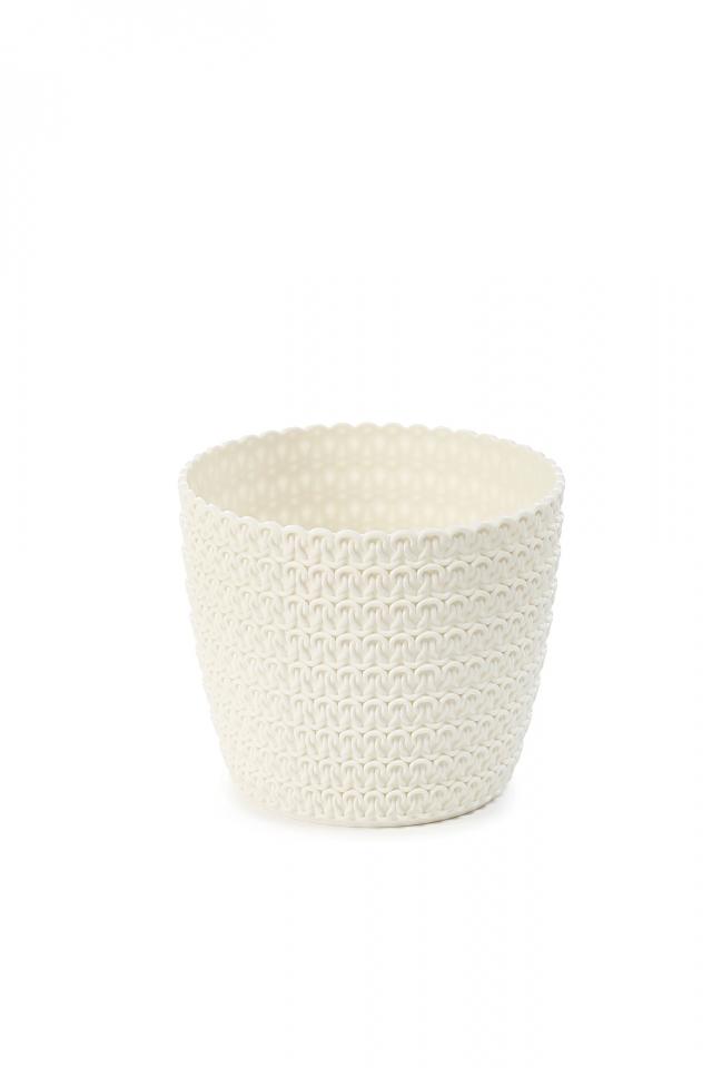 Plastový květináč Magnolia Jersey 110 mm, krémový