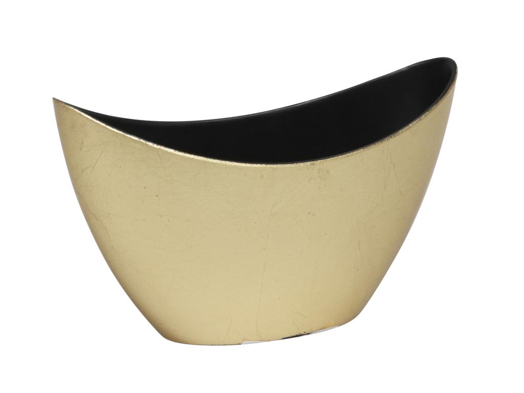 Zlatý plastový květináč loďka 20x9x12 cm