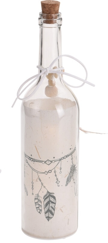 Svítící lahev s dekorem - peříčka