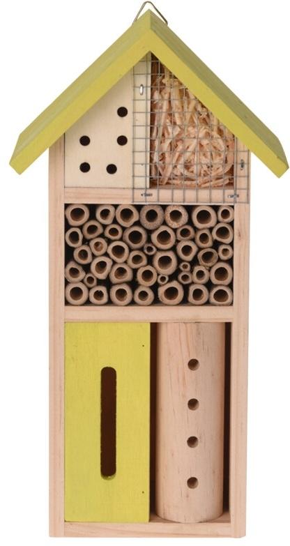 Dřevěný hmyzí hotel 13,5x8,5x26 cm, žlutý