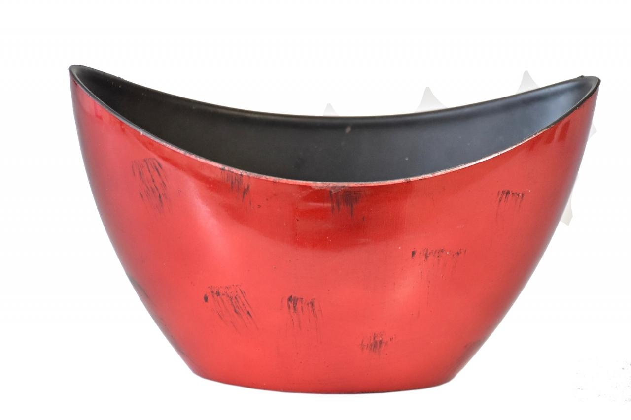 Červený plastový květináč loďka 20x9x12 cm