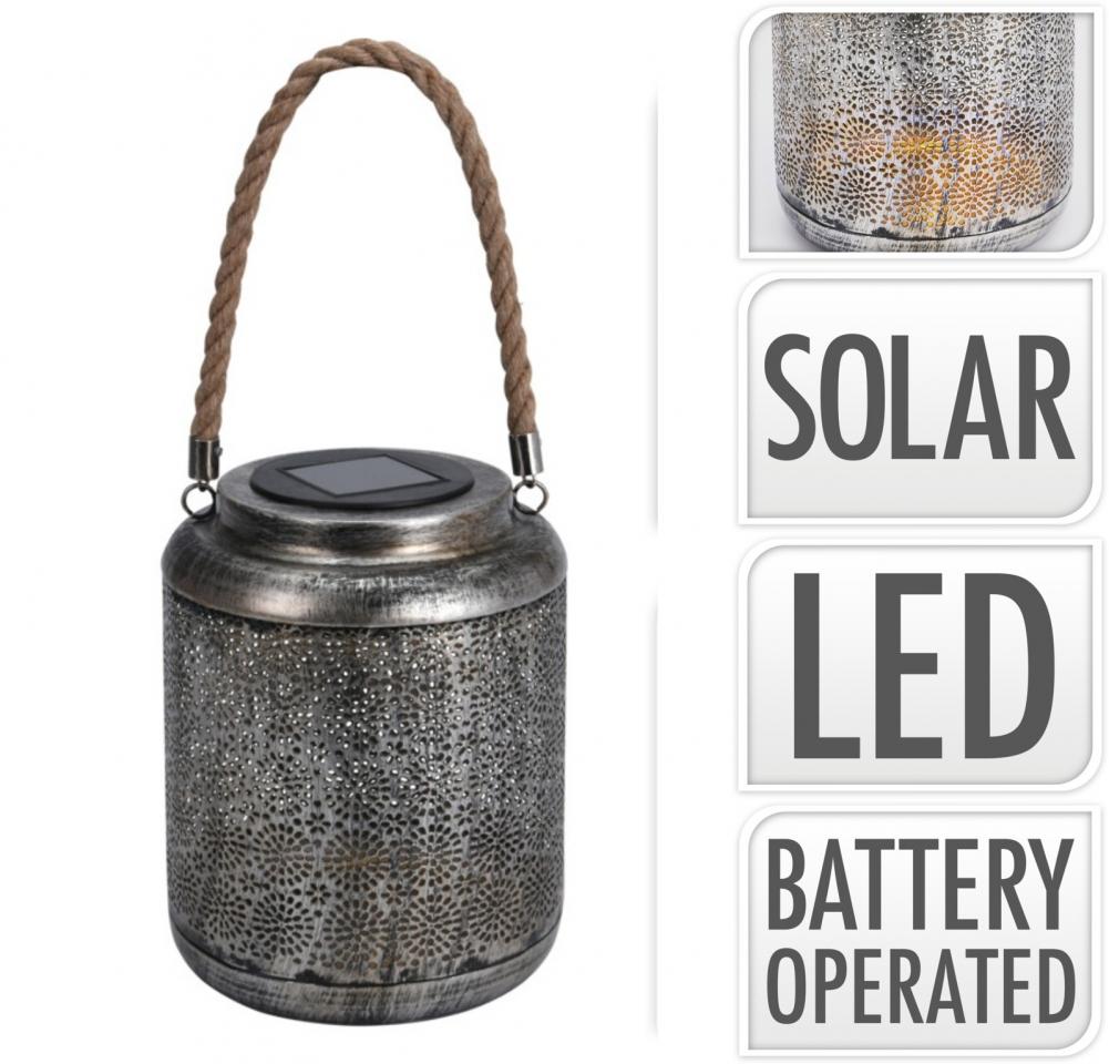 Kovová lucerna LED, solární, A