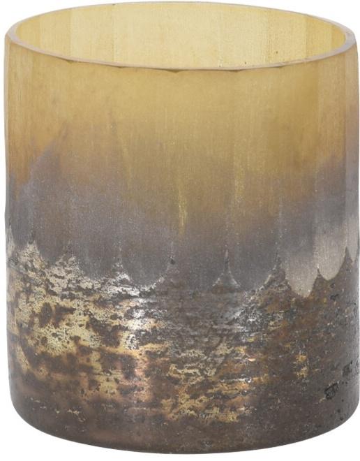 Skleněný svícen krémový 7,5x7 cm