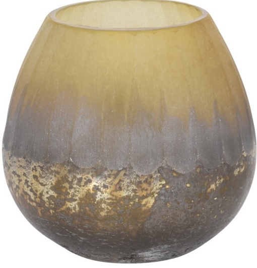 Skleněný svícen krémový 10x10 cm