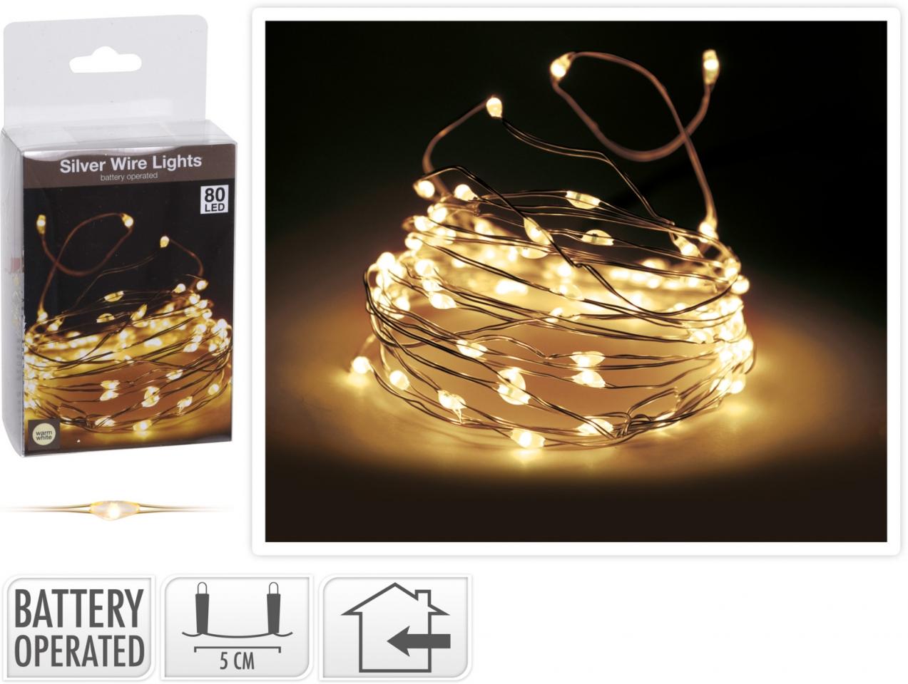 Světelný řetěz 400 cm, 80 LED teplé bílé světlo