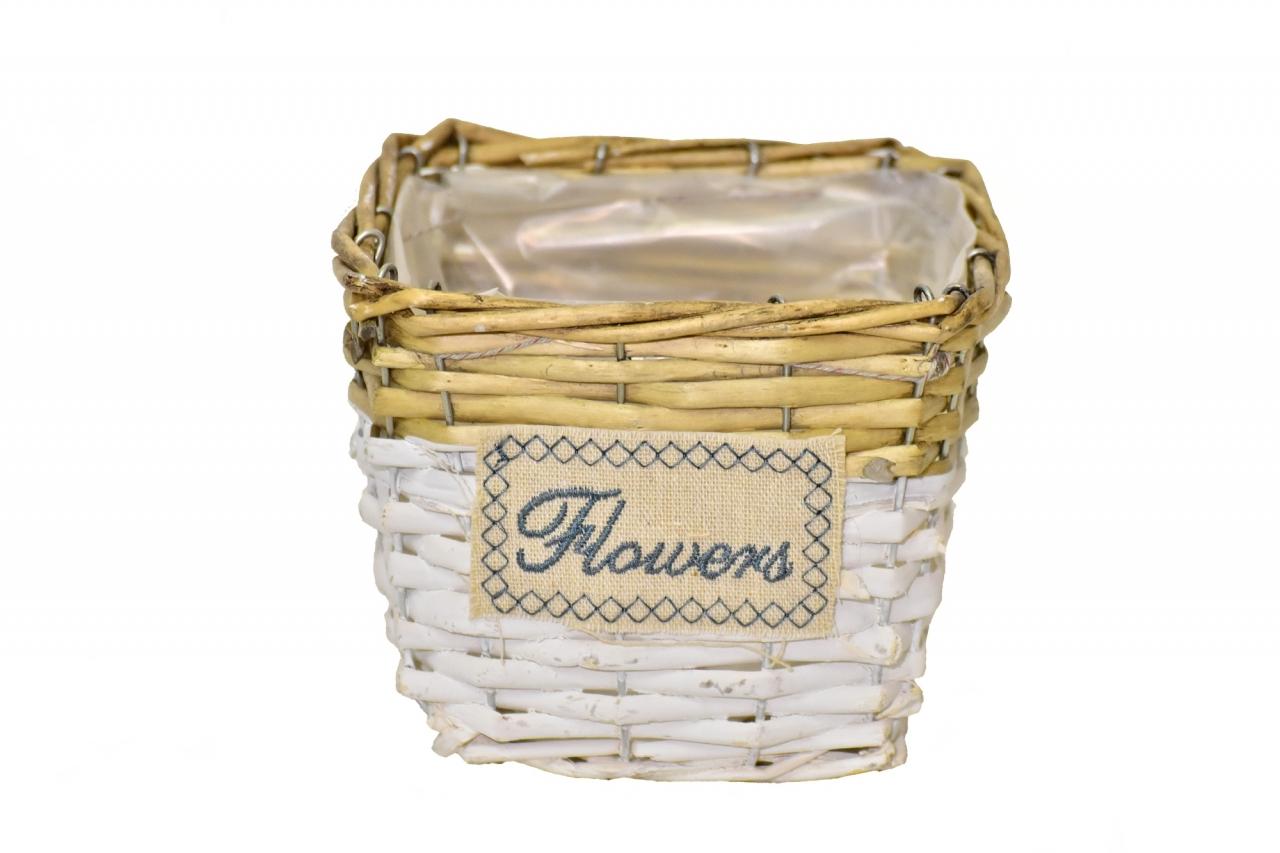 Proutěný košík Flowers 12x15x15 cm