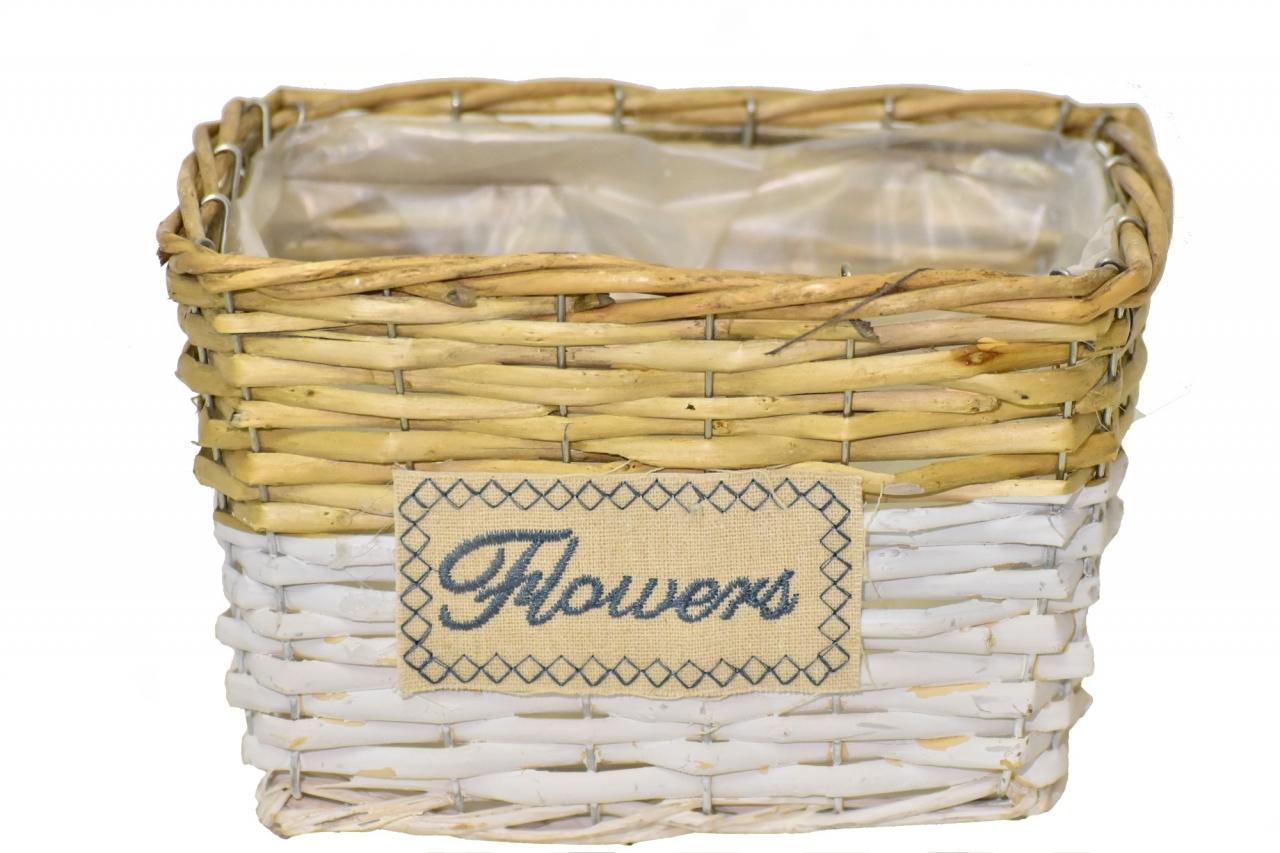 Proutěný košík Flowers 14,5x22,5x17,5 cm