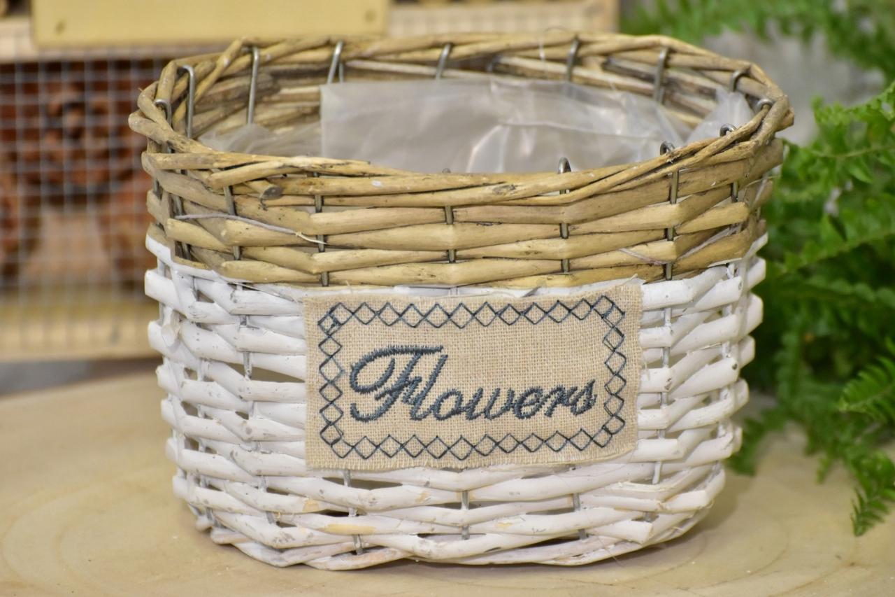 Proutěný košík Flowers oválný 12x17x12 cm
