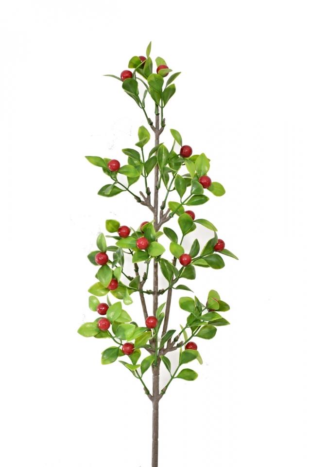 Vánoční větvička červené bobulky 58 cm