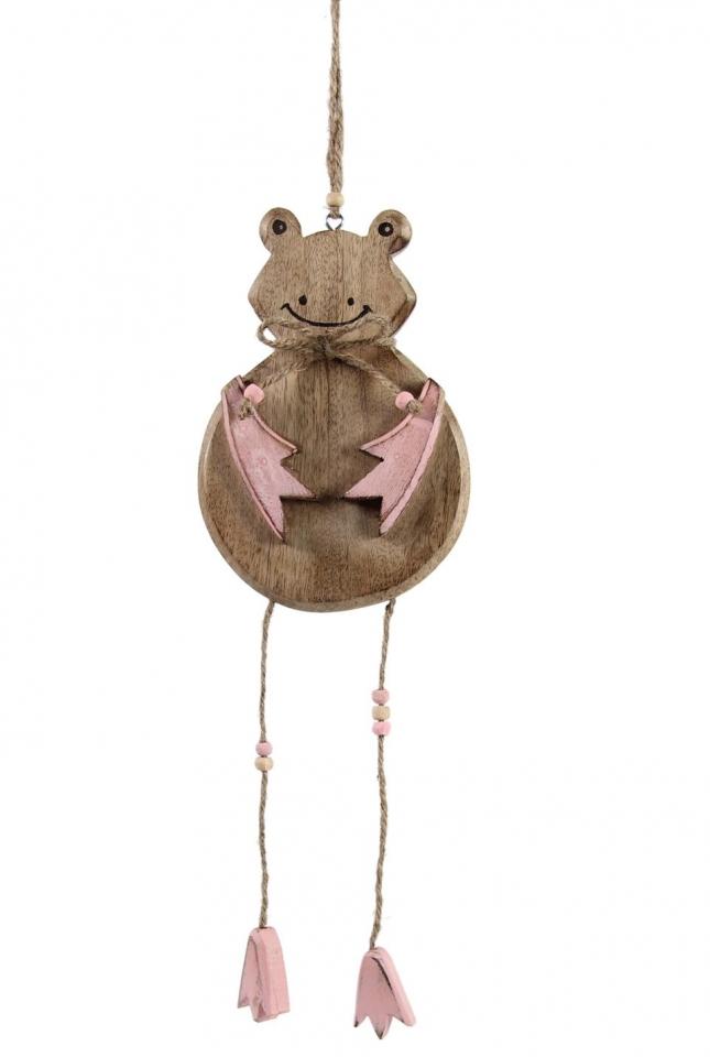 Dřevěná žába na zavěšení starorůžová