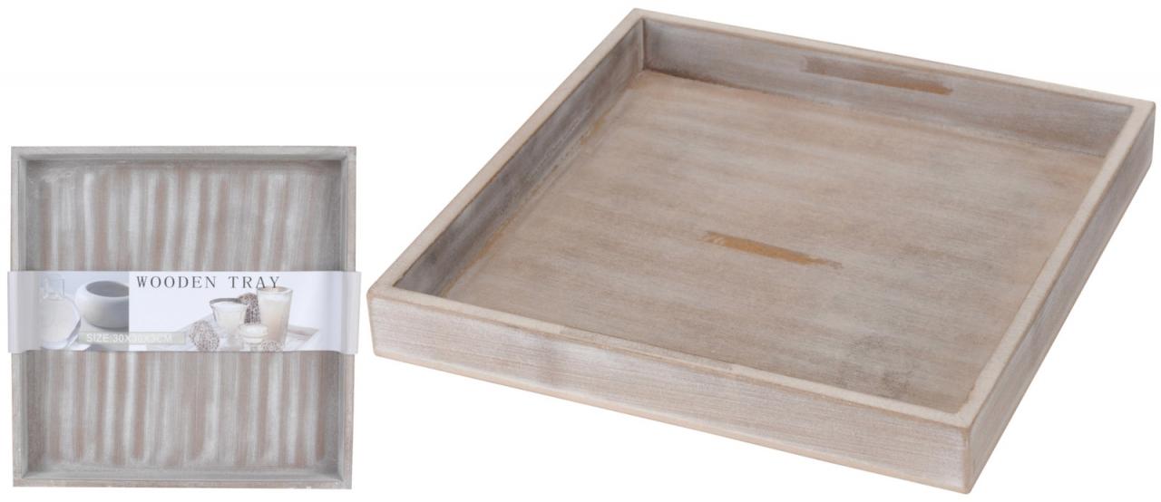 Dřevěný tác 30x30cm, šedý