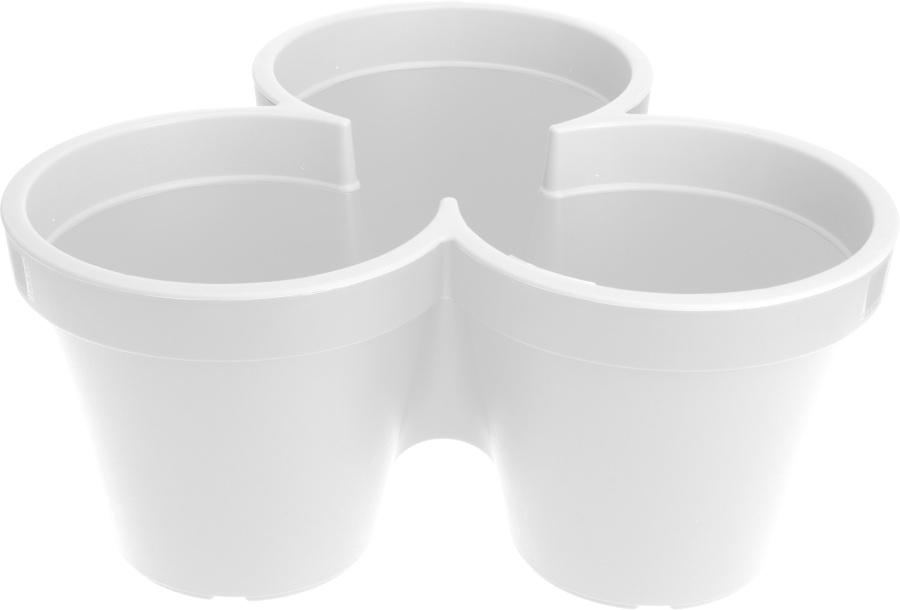 Plastový troj - květináč bílý