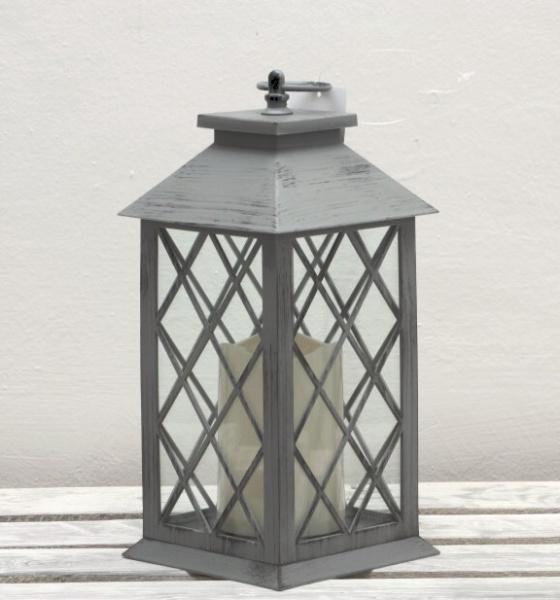 Lucerna LED šedá s patinou 33 cm