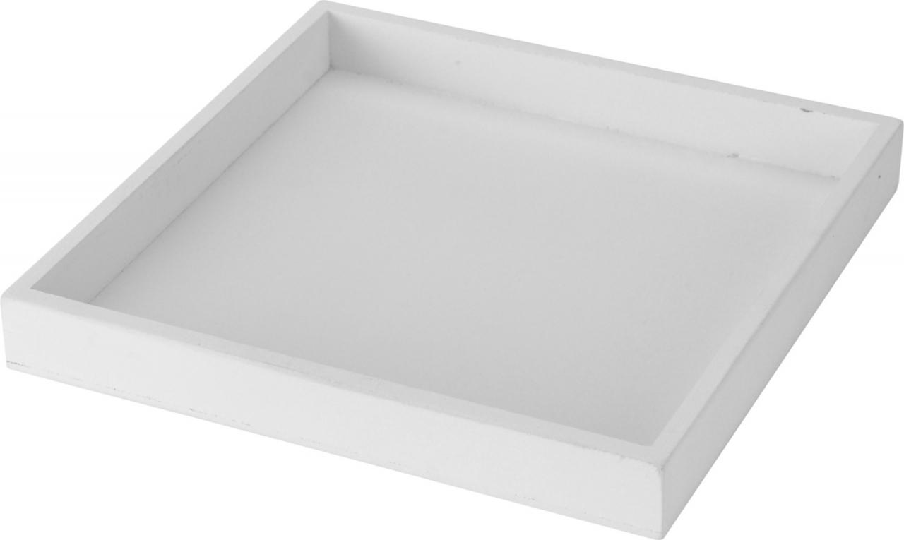 Dekorativní dřevěný tác 30x30 cm, bílý