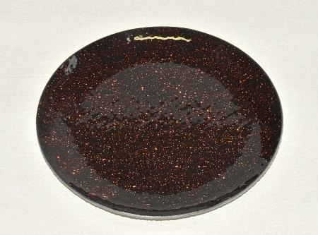 Skleněný tác 20 cm, hnědý mražený