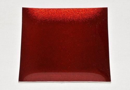 Skleněný tác 24,5 x 24,5 cm, červený s perletí