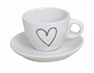Hrnek espresso s podtalířkem, bílý