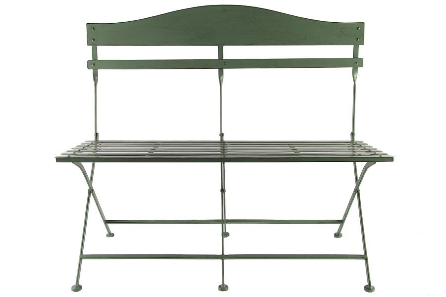 Kovová skládací lavička, zelená