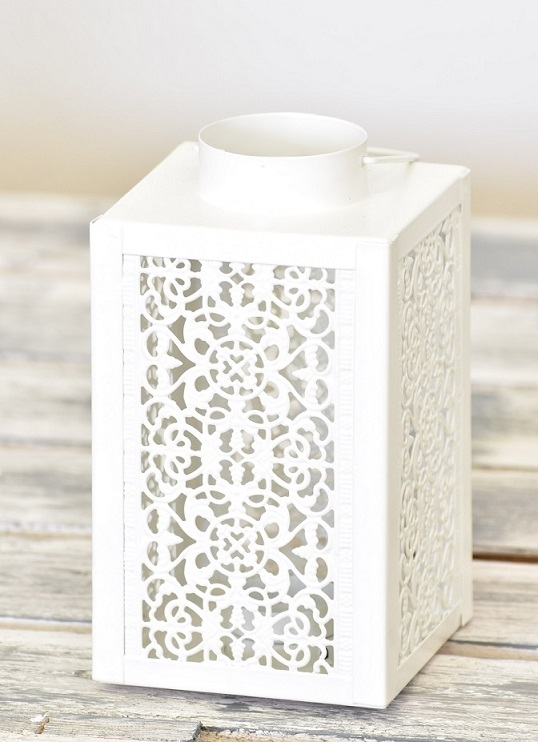 Kovová lucerna  bílá 18,5 cm