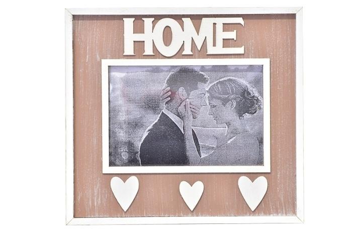 Dřevěný fotorámeček Home, hnědý