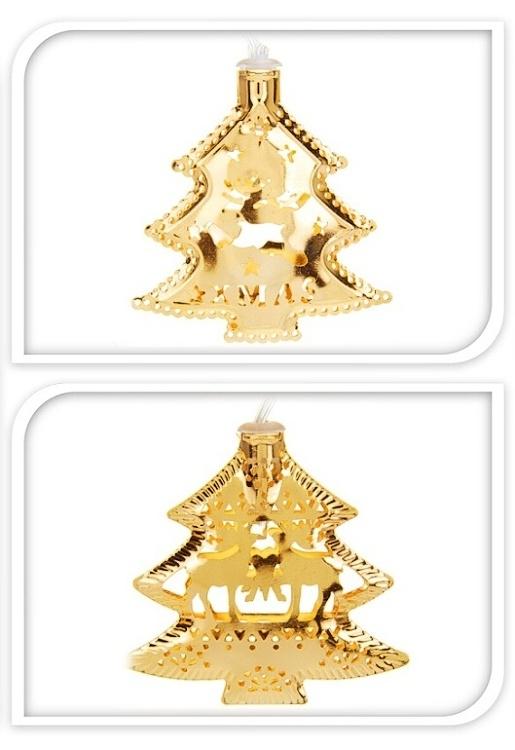 Světelná girlanda zlatá, LED - se stromečky