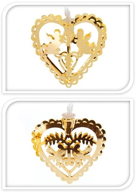 Světelná girlanda zlatá, LED - se srdíčky