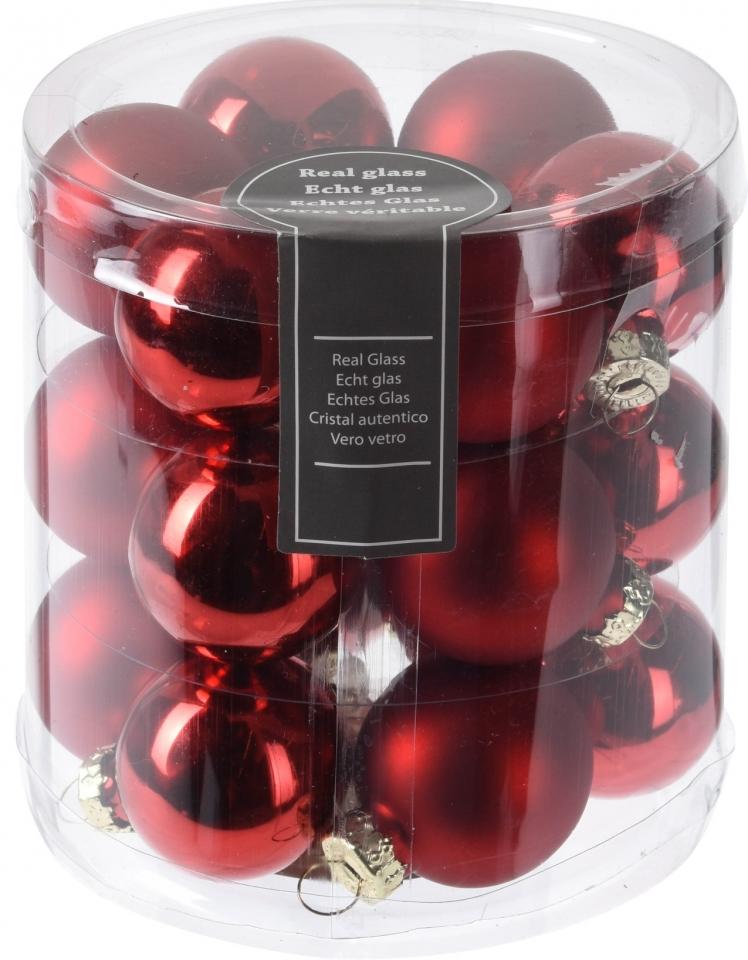 Červená baňka (18 ks), 3 cm