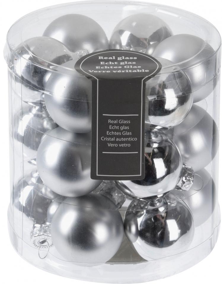 Stříbrné baňky (18 ks), 3 cm
