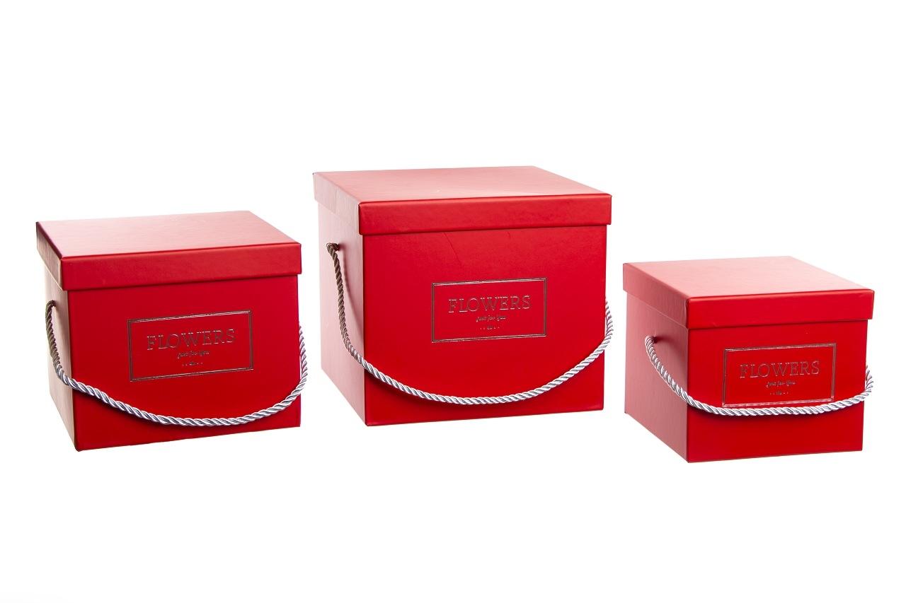 Flower box červený, sada 3 ks