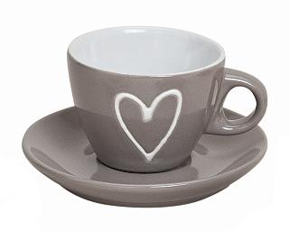 Hrnek espresso s podtalířkem, hnědý