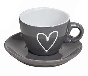 Hrnek espresso s podtalířkem, šedý