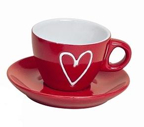 Hrnek espresso s podtalířkem, červený