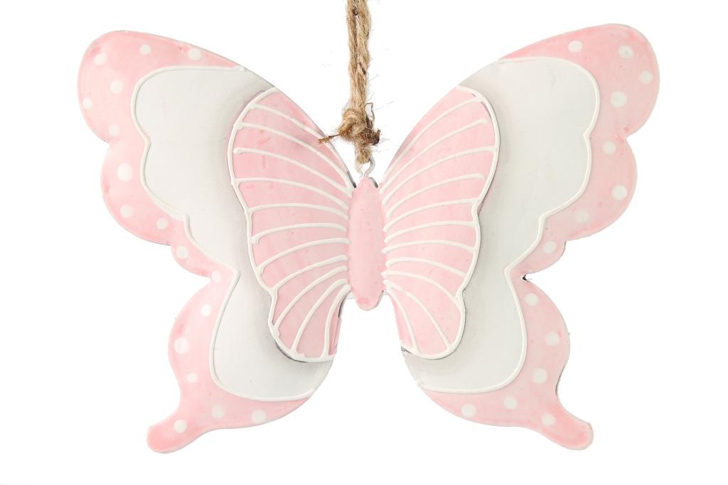 Kovový motýl starorůžový M