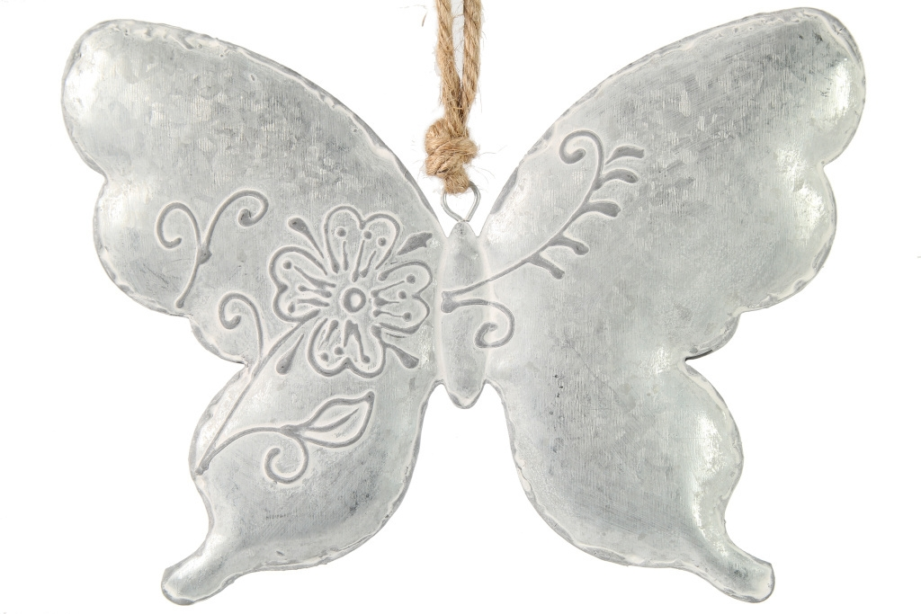 Stříbrný motýl s reliéfem L