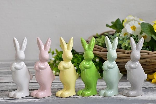 Porcelánový zajíc mix barev 15 cm