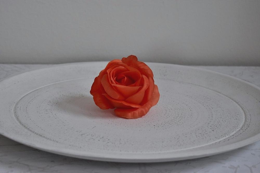 Květ saténové růže oranžové