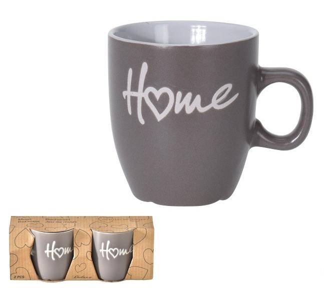 Porcelánový hrnek Home šedý, sada 2 ks