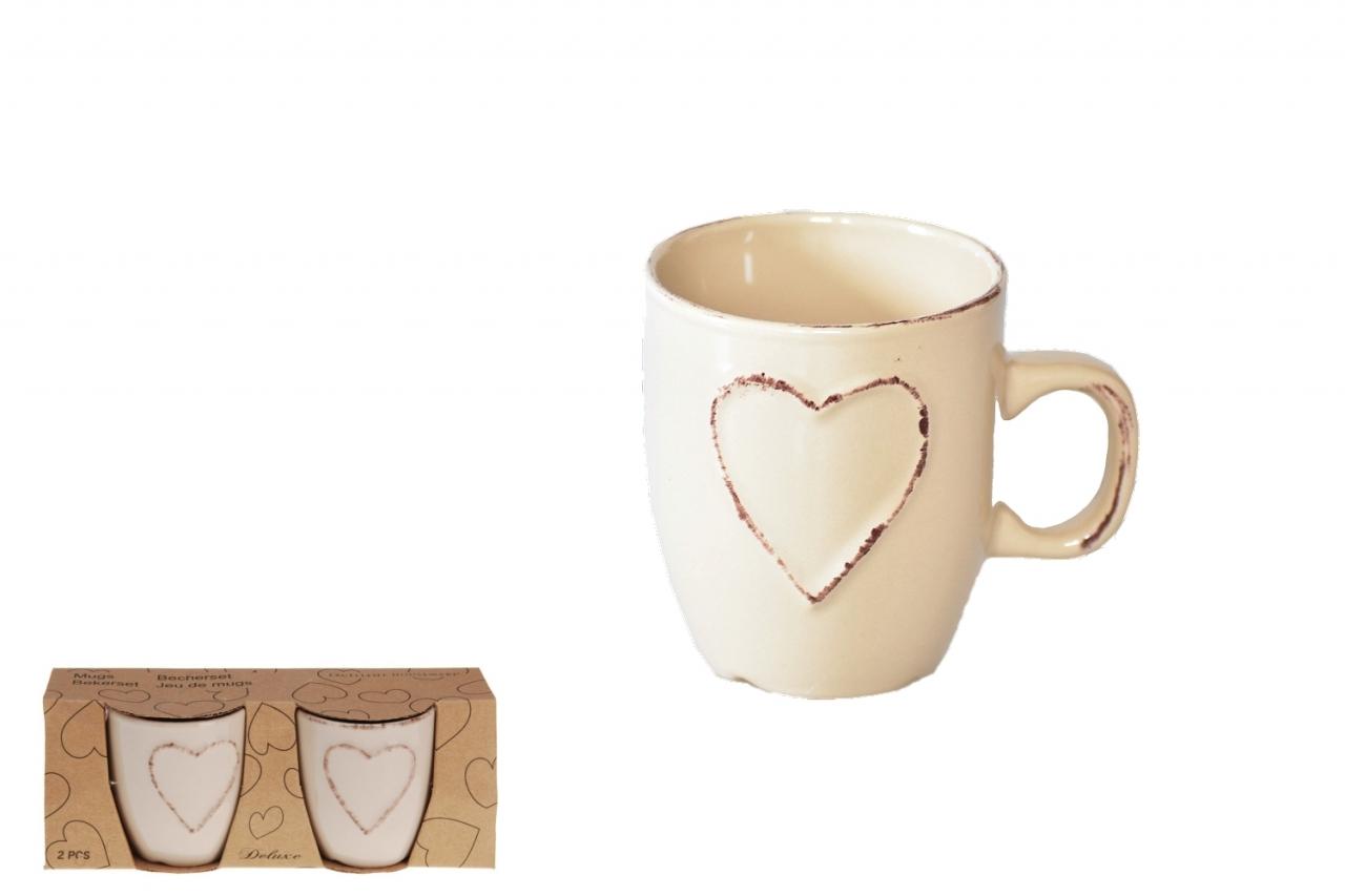 Hrnek keramický Srdce sada 2ks, hnědý