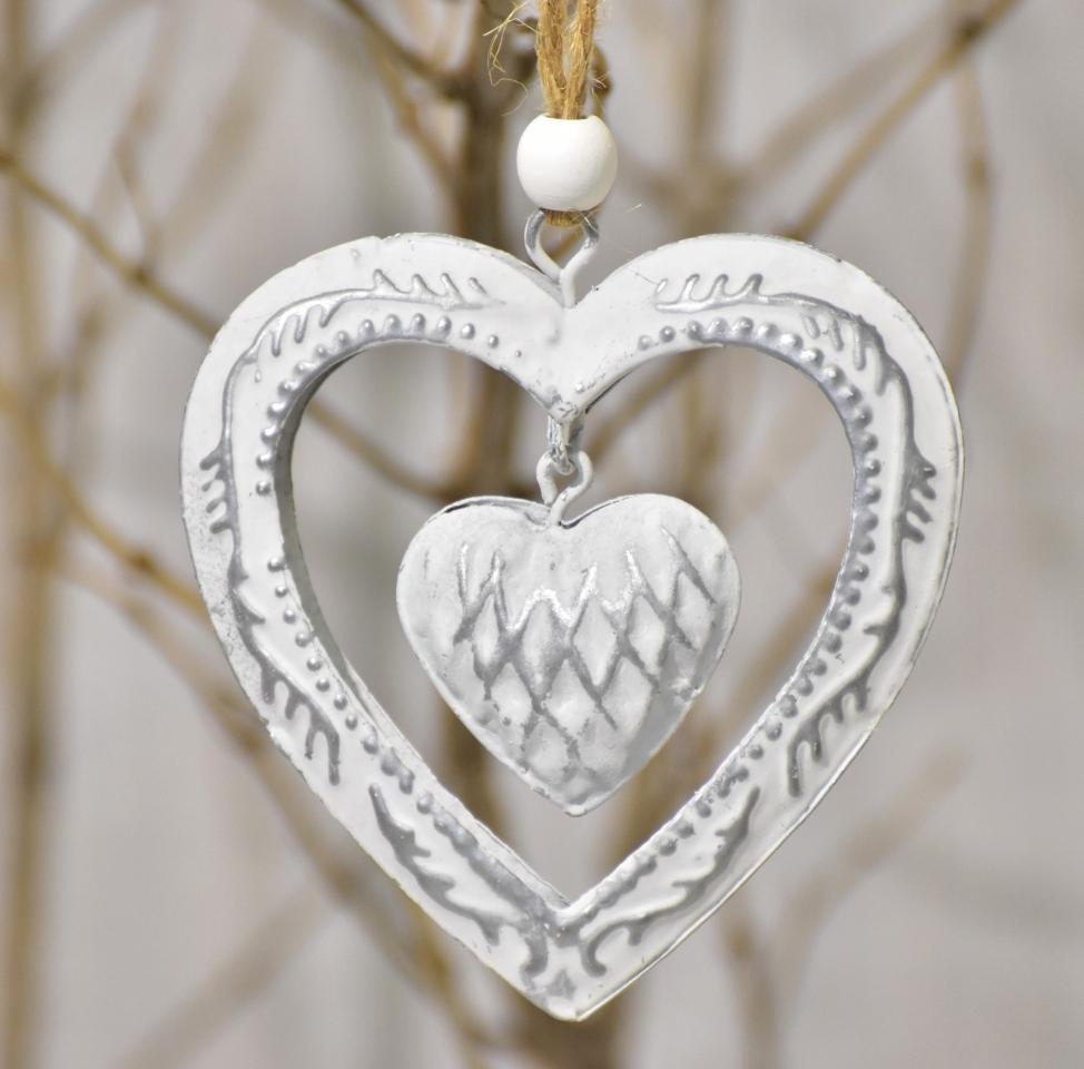 Kovová ozdoba stříbrná - srdce