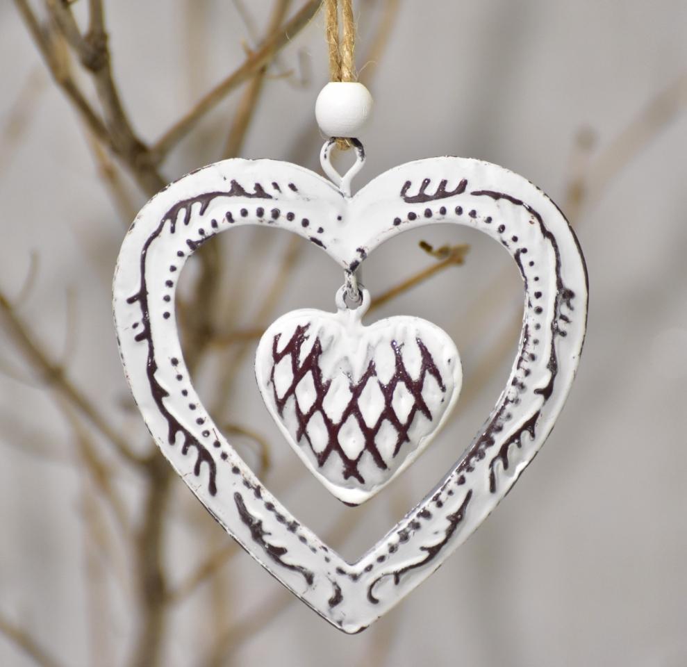 Kovová ozdoba měděná - srdce