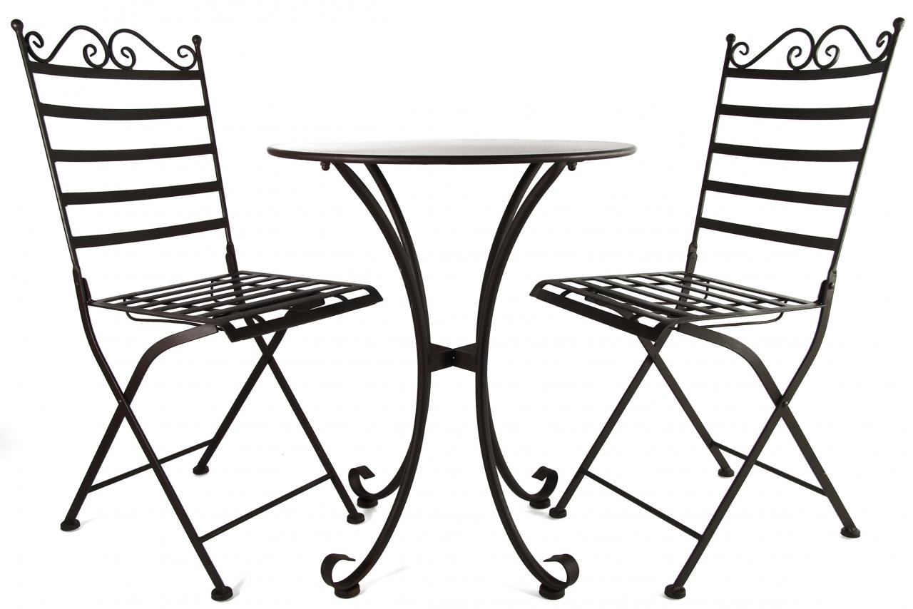Kovový stůl a židle Bennie tmavě hnědý