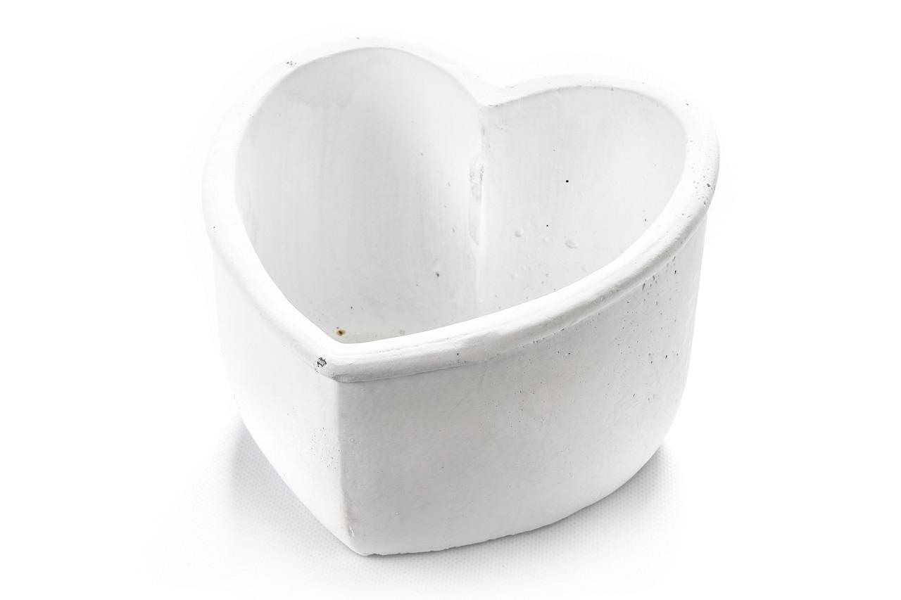 Květináč srdce bílé 14x21x22 cm