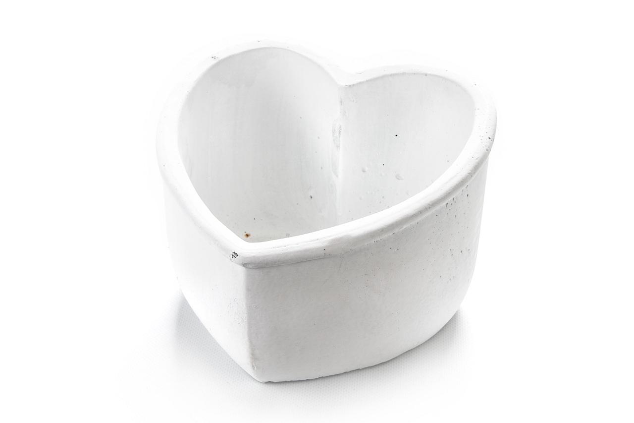 Květináč srdce bílé 13,5x17,5x19 cm