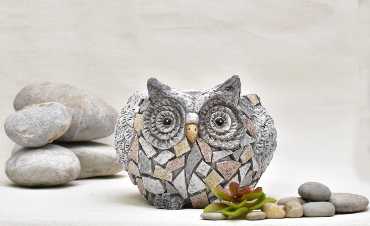 Květináč sova Rita mozaika 17,5 cm