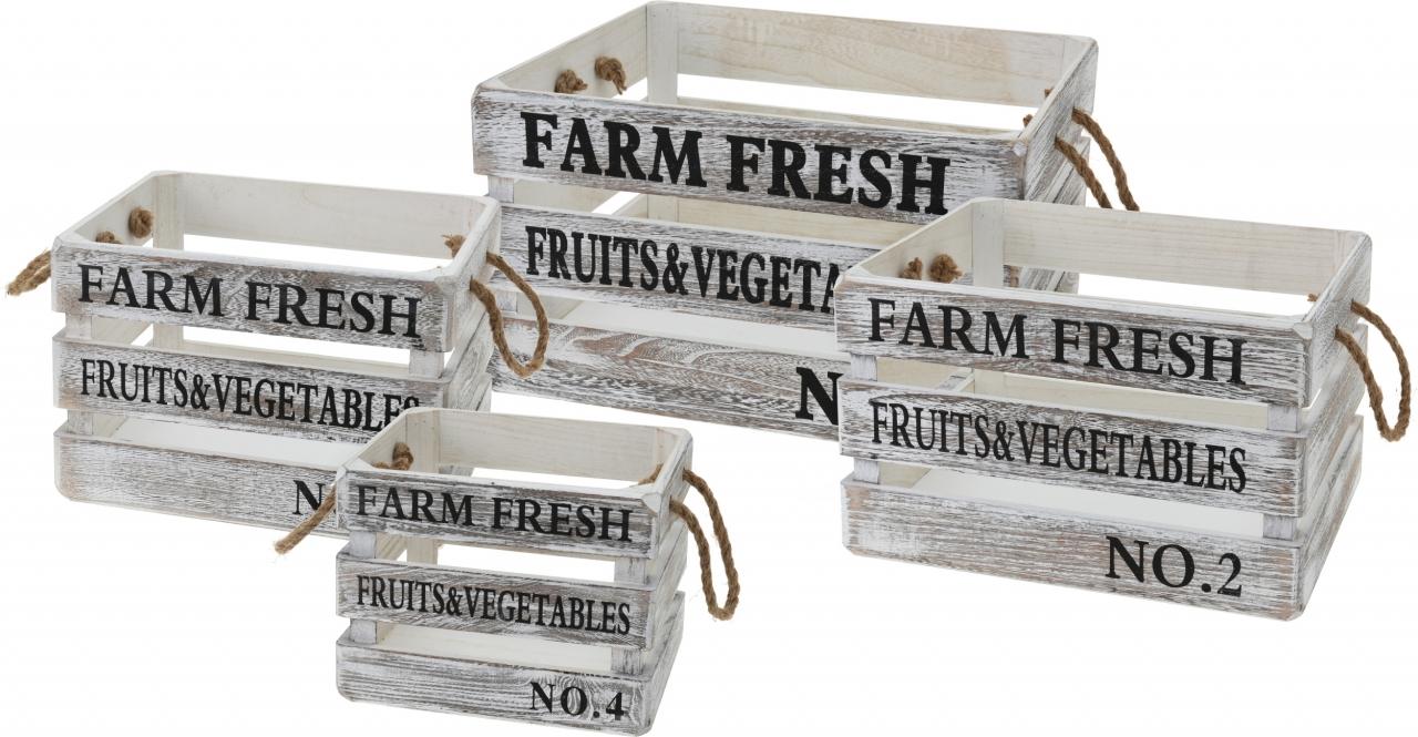 Dřevěné bedýnky FARM FRESH s/4, bílé s patinou