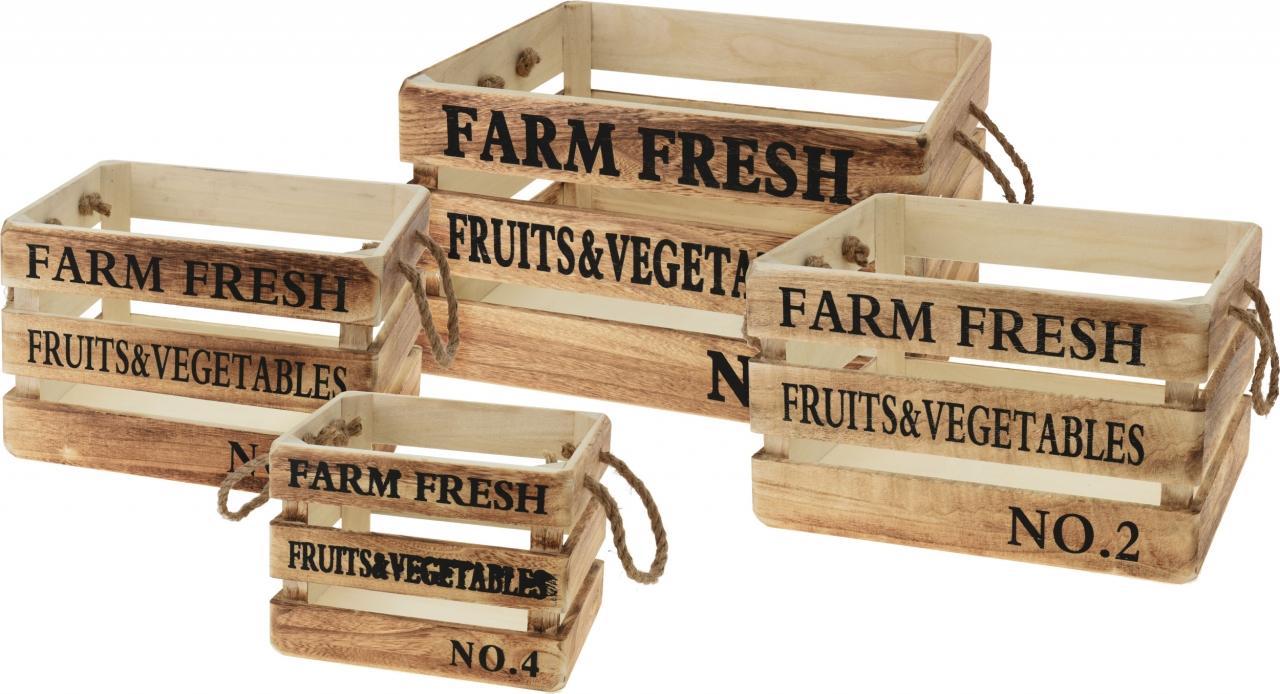 Dřevěné bedýnky FARM FRESH s/4, hnědé