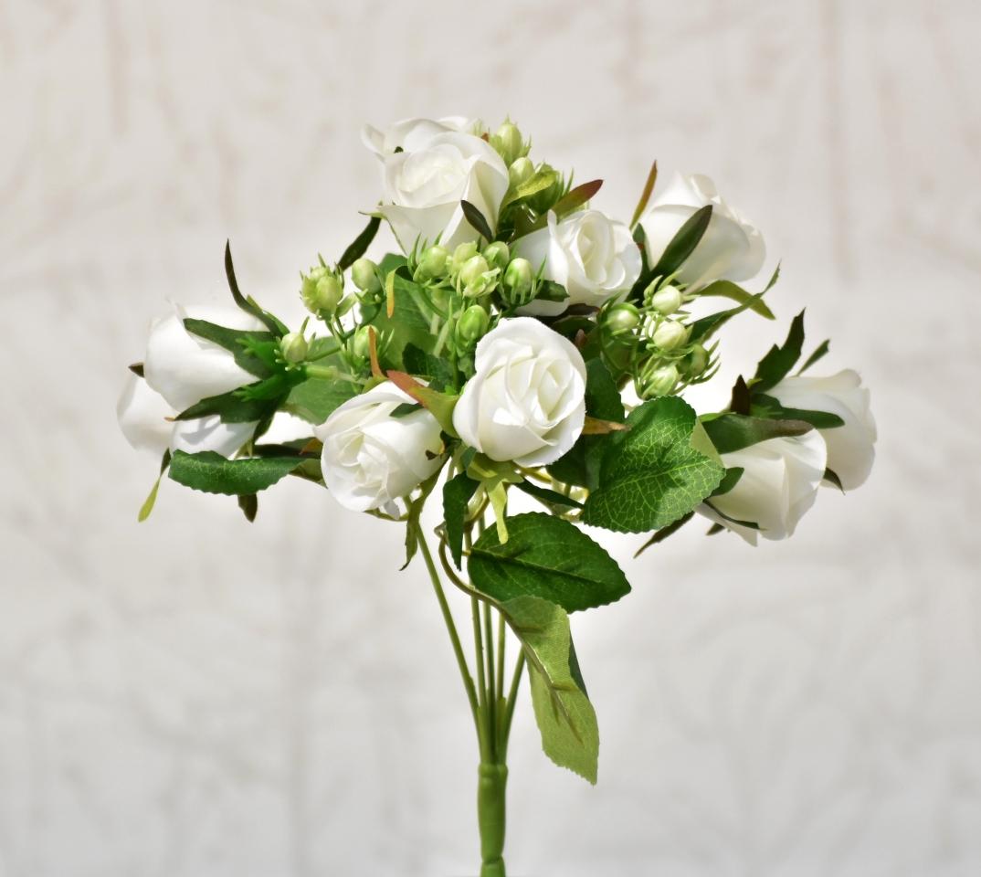 Kytička růží bílá, 30 cm