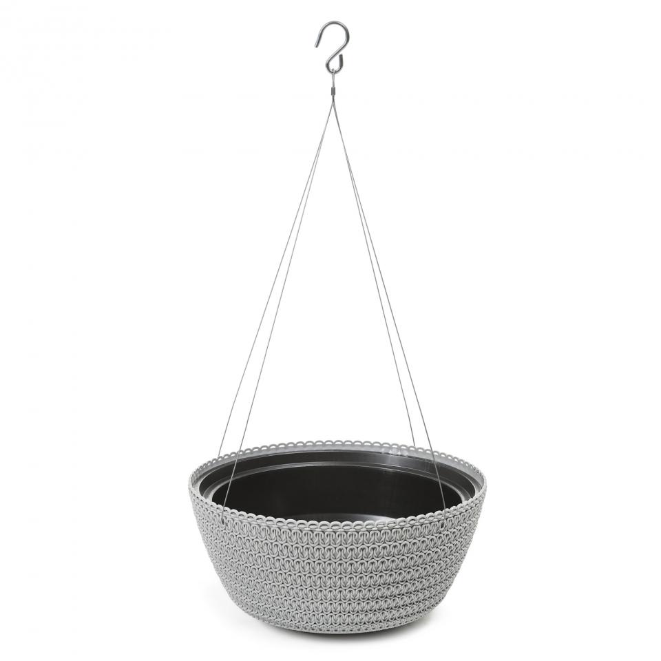 Plastový květináč Bowl Jersey 240 mm, šedý