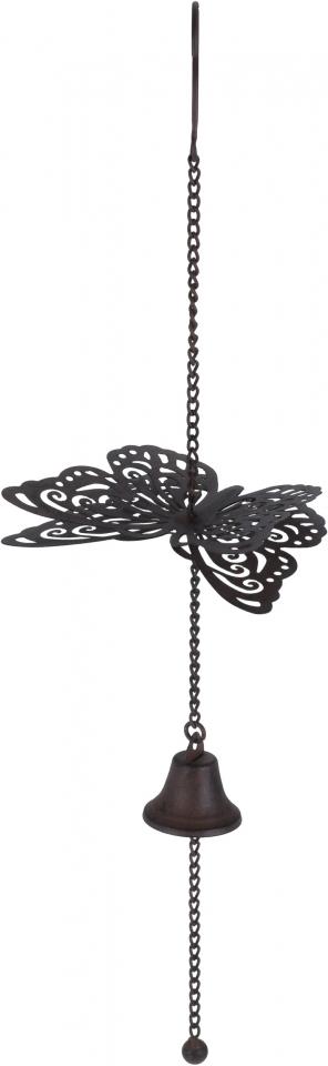 Kovová zvonkohra s motýlkem 50 cm, hnědá